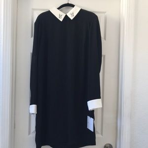 Black and white collared dress